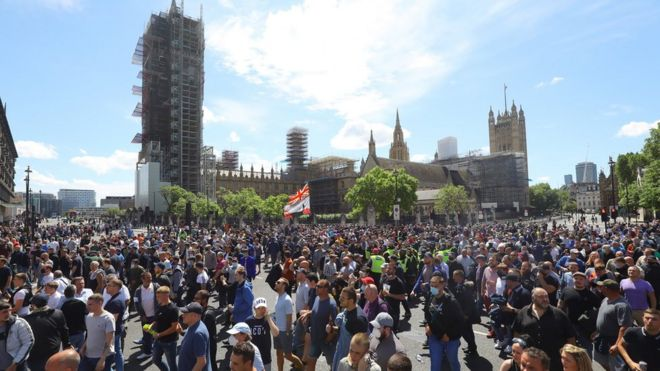 Protesters outside Parliament