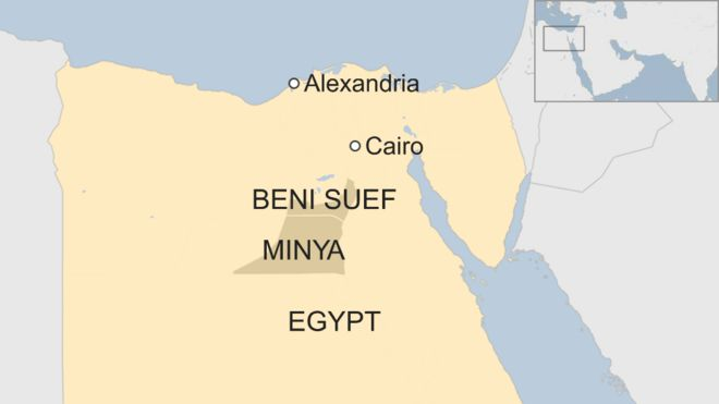 Map of Egypt showing location of Minya and Beni Suef provinces