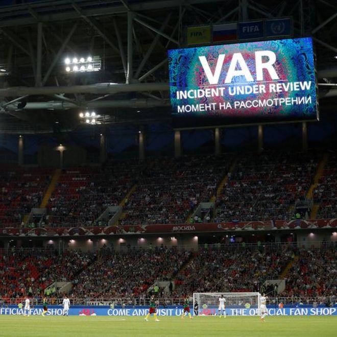 Imagen del marcador en el estadio Spartak en Moscú.