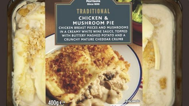 Morrisons recalls chicken pie over fish mix up bbc news chicken and mushroom pie forumfinder Choice Image