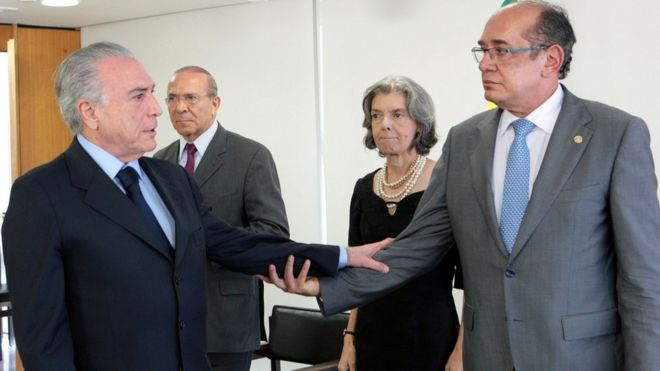 Michel Temer e Gilmar Mendes, com Eliseu Padilha e Cármen Lúcia ao fundo
