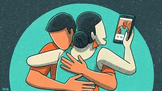 ilustração de casal heterossexual, ela olhando o celular
