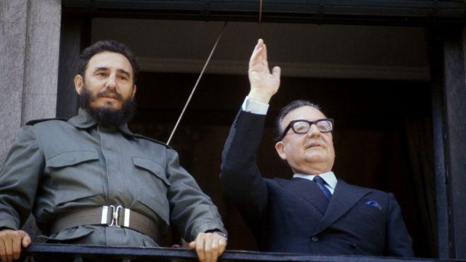 Fidel Castro y Salvador Allende en 1972.