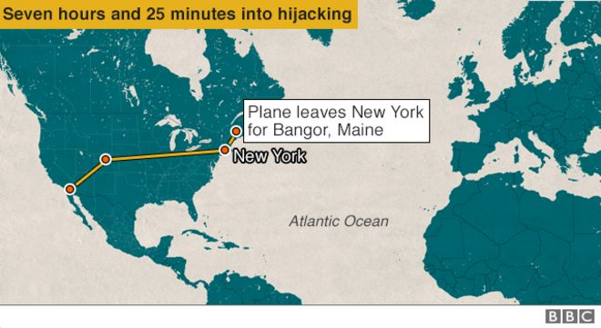 Plane leaves for Bangor - 7 hours and 23 minutes into hijack
