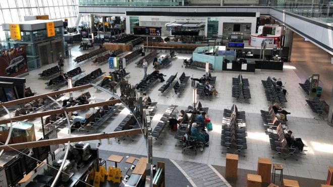 The departure lounge at Heathrow's Terminal 5 is almost empty