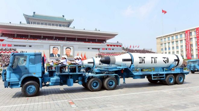 Missile at military parade in Pyongyang (North Korean state news agency KCNA) - 16 April
