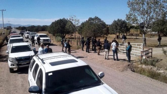 "General view during the police operation at the ranch of US citizen Orson William Black Jr. alleged ""fugitive of the American justice for sexual crimes"" and leader of a sect called ""La Comuna"" in Cuauhtemoc, Chihuahua state, Mexico on November 5, 2017."