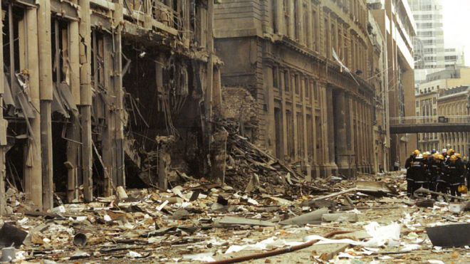 Debris From The Bishopsgate Bombing Strewn Across Street