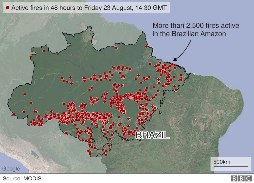 Mapa que muestra incendios activos en la Amazonía brasileña