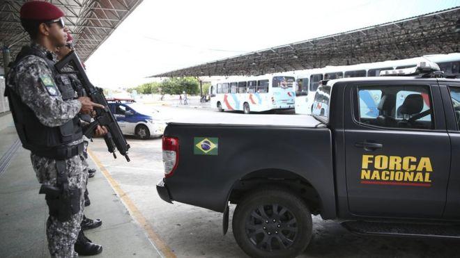 Agentes da Força Nacional em Fortaleza