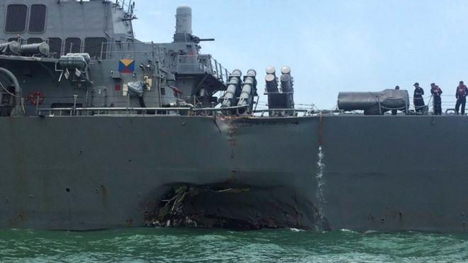 US Navy collision: Remains found in hunt for missing sailors