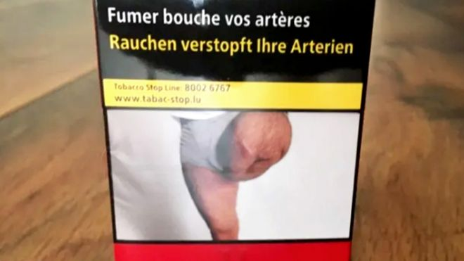 Cigarette packet showing man's amputated leg