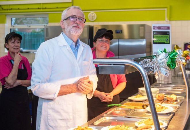 Waa hogaamiyaha xisbiga Labour-ka UK Jeremy Corbyn oo tagay maqaaxi yar isagoona ka shaqaalaha ka caawinaya qeybinta cuntada.