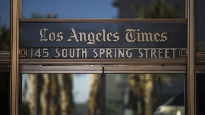 The Los Angeles Times building is seen on February 6, 2018 in Los Angeles, California