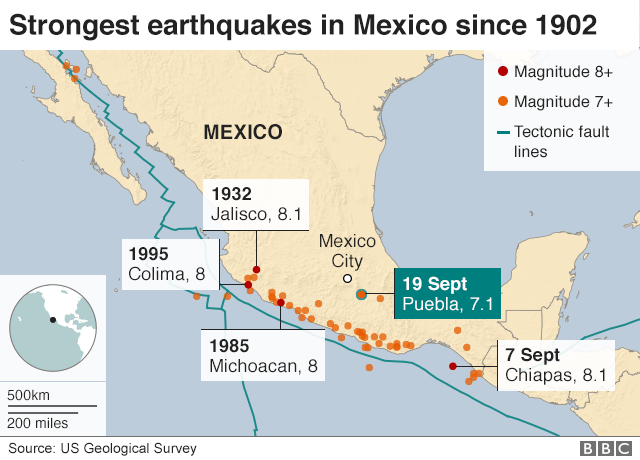 Mexico Quake A Visual Guide BBC News - After the earthquake new map of us