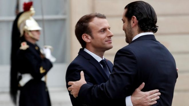 Saad Hariri (right) and Emmanuel Macron