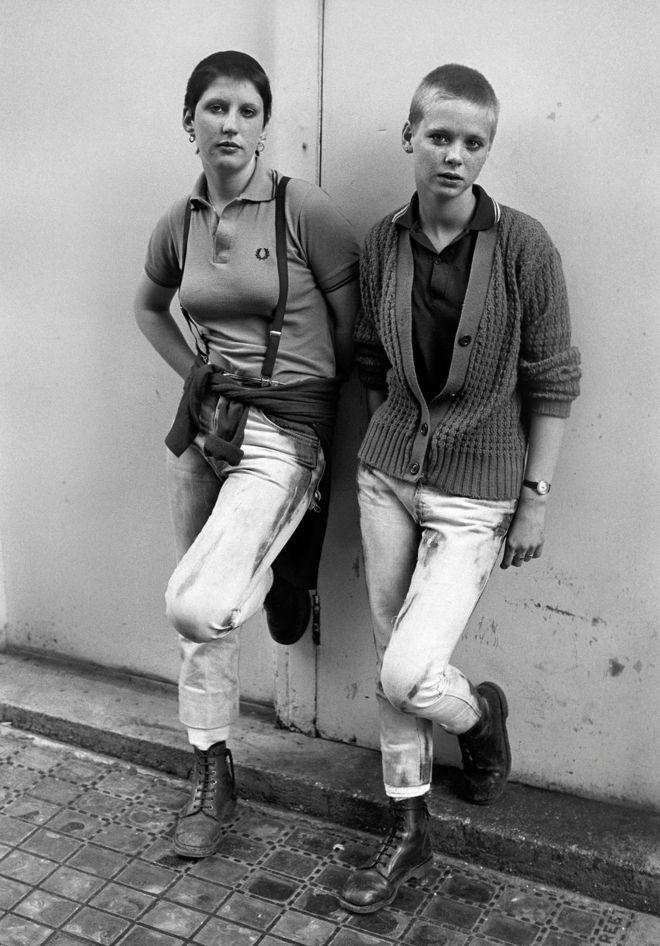 Skinhead girls Debbie and Caroline, Brighton, 1980
