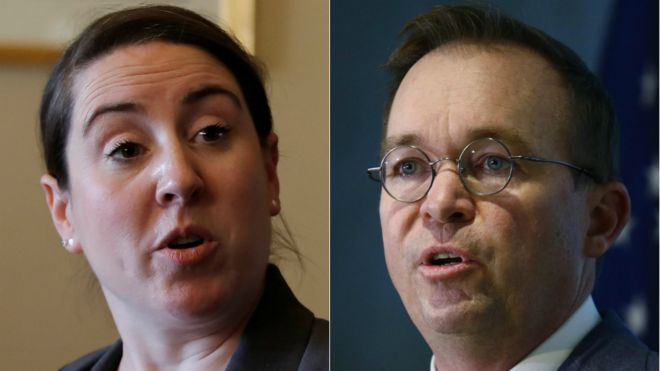 Leandra English and Mick Mulvaney