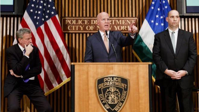 US Mail Bomb Threats New York Police Commissioner James ONeill Mayor Bill De Blasio And