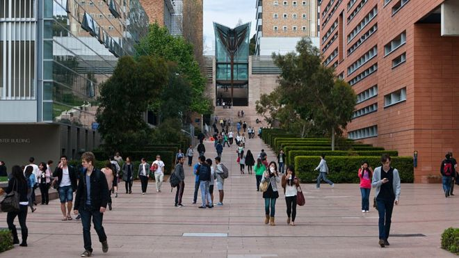 Students walk down the main thoroughfare of the University of New South Wales in Sydney.