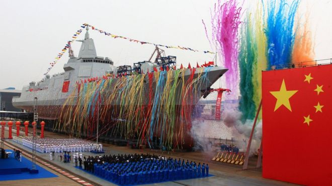 China's new ship during its launching ceremony