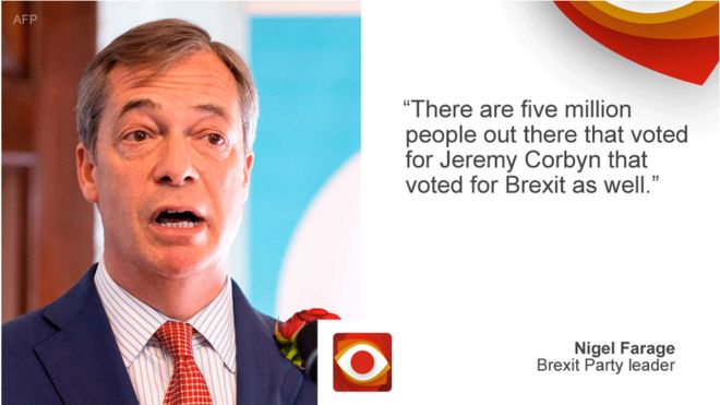 9cd534eec27c Nigel Farage saying: There are five million people out there that voted for  Jeremy Corbyn