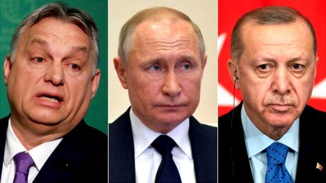 Viktor Orban, primer ministro de Hungría (izq.), Vladimir Putin, presidente de Rusia, y Recep Tayyip Erdogan, de Turquía.