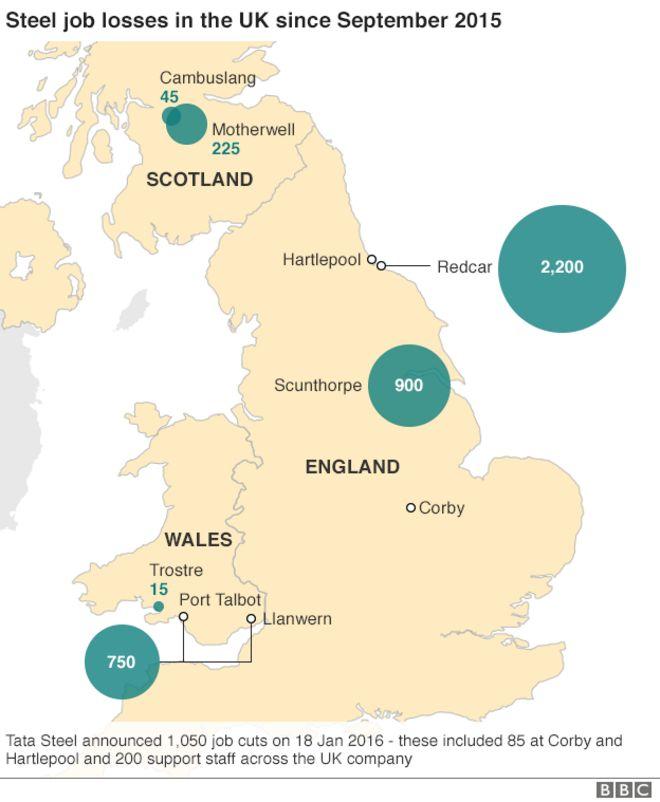 Потеря рабочих мест в металлургии в Великобритании с сентября 2015 года