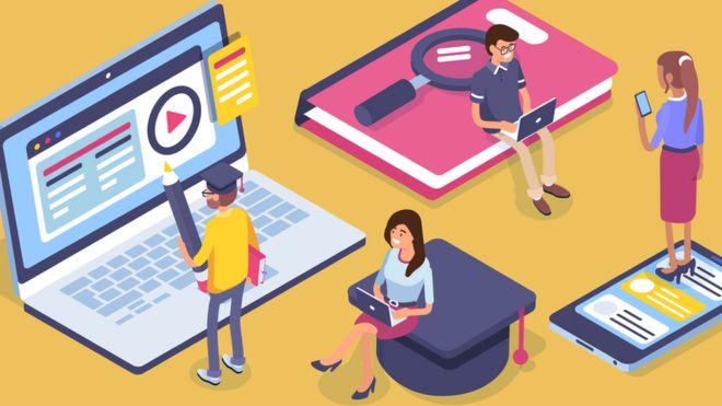 Ilustración de cursos online