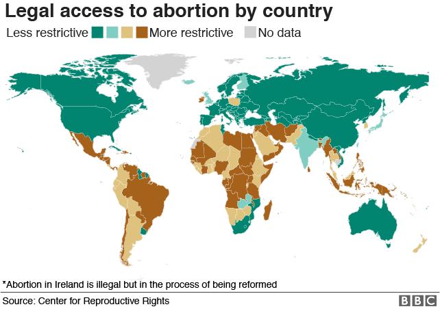 Карта: Легальный доступ к абортам по странам