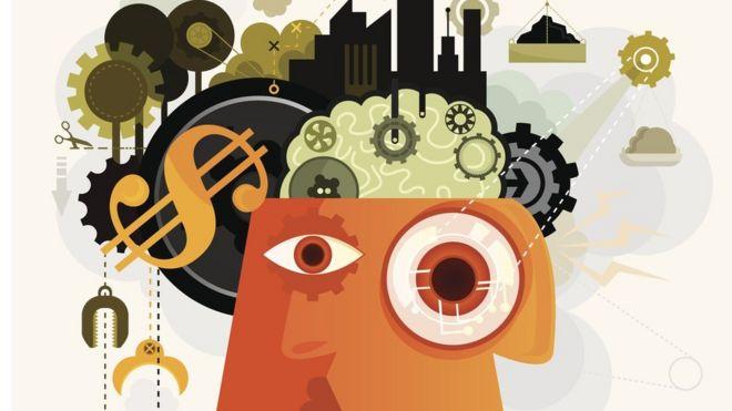 Ilustração mostrando interior de uma cabeça com cifrão