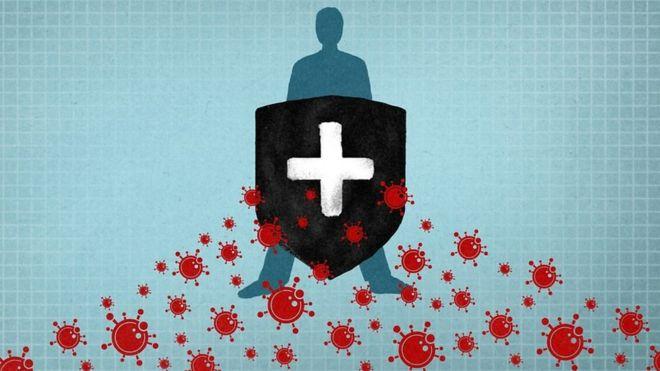 Ilustración inmunidad contra el coronavirus.