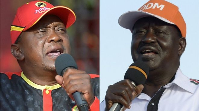 Uhuru Kenyatta (left), Kenya's president, is locked in a tight race with opposition leader Raila Odinga (pictured right).
