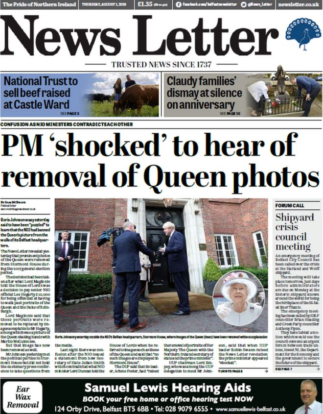 NI newspapers: Unclear picture over Queen portrait 'ban' - BBC News