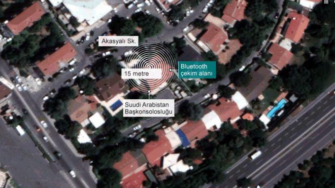 Suudi Arabistan İstanbul Başkonsolosluğu binası ve kapısı arasındaki mesafe Bluetooth'un çekim alanının dışında kalıyor. Harita