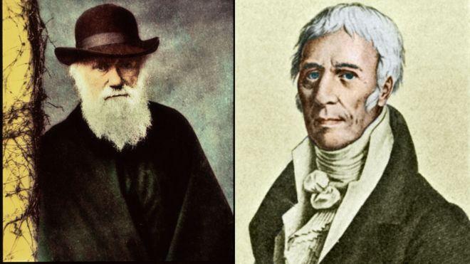 el inglés Charles Darwin (izq.) el francés Lamarck (der.).