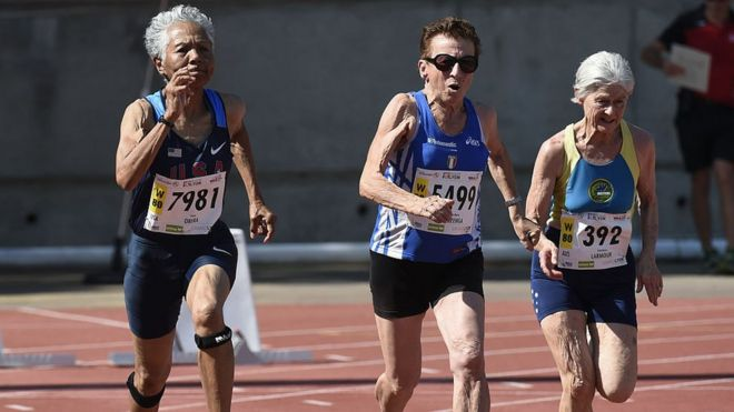 Irene Obera (l), Emma Maria Mazzenga and Constance Marmour compete at the World Masters Athletics Championships in 2015