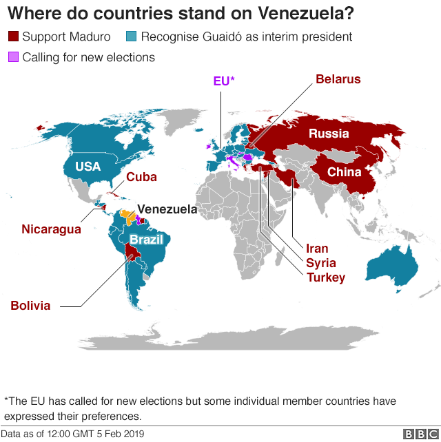 Map showing latest country's support around the world