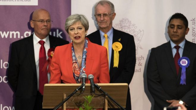 UK Theresa May election night speech in Maidenhead
