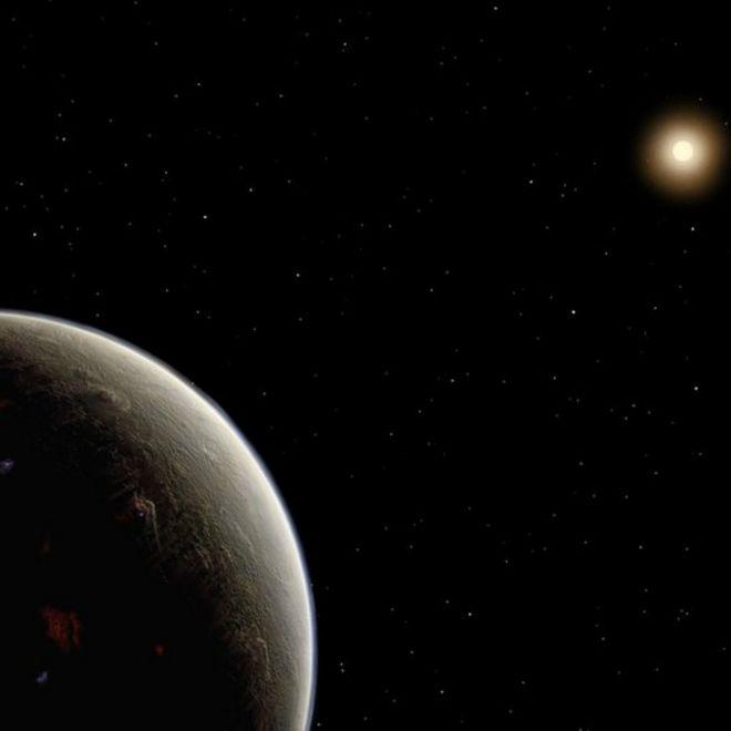 Ilustración del nuevo planeta y su estrella HD 26965