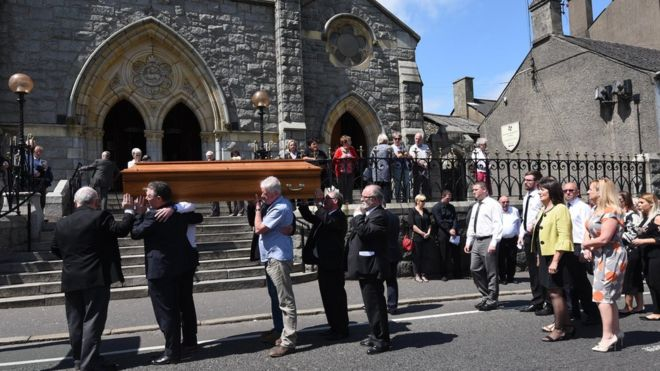 Seamus Ruddy's coffin carried into the Chapel