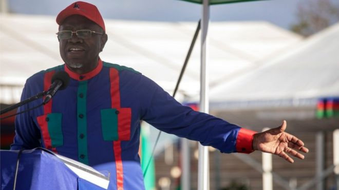 Hage Geingob dressed in Swapo party colours at an election rally, Windhoek, 23 November 2019