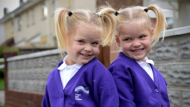 port talbot twins who survived womb surgery start school bbc news