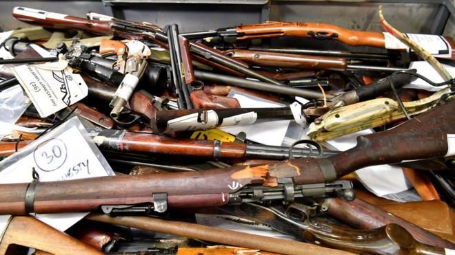 Guns collected by the police in an Australian gun amnesty