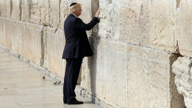 Donald Trump places his hand on the Western Wall in Jerusalem on 22 May 2017