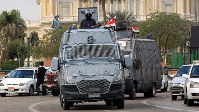 Египетская полиция была развернута на каирской площади Тахрир 25 января 2016 года