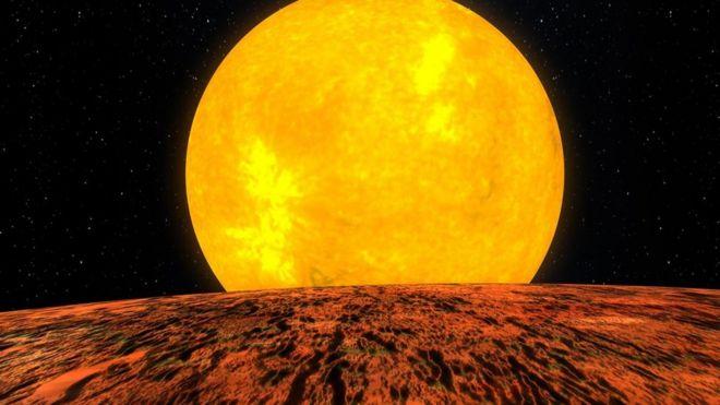 Ilustração artística de um exoplaneta rochoso
