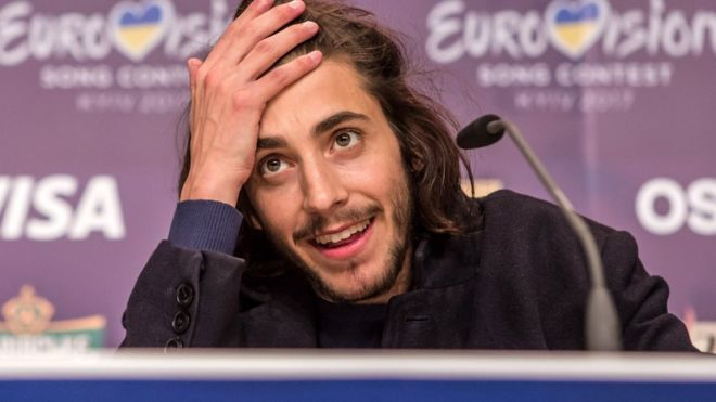 Salvador Sobral, the winning contestant from Portugal, at the winner's press conference at the Eurovision Grand Final on May 14, 2017 in Kyiv, Ukraine.
