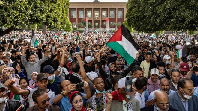 مظاهرات حاشدة شهدها المغرب ضد التطبيع وتأييدا للفلسطينيين