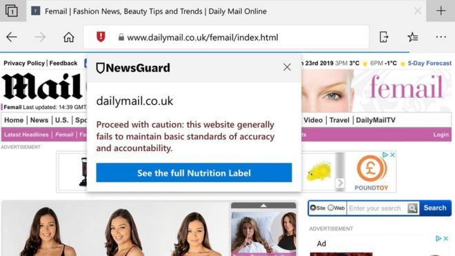 NewsGuard warning about Daily Mail Online